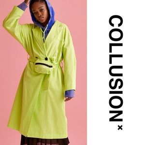 Neon green trench coat + removable belt/pouch bag